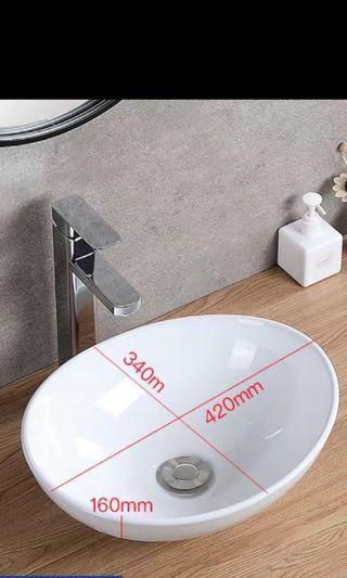 藝術橢圓形檯面洗手盆 (包送貨及送下水配件)