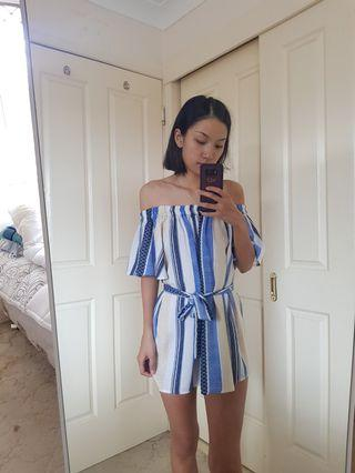 Striped Off Shoulder Dress Size 6/XS