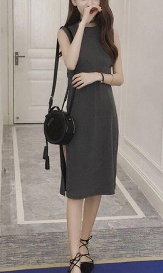 Fashion Korean women sleeveless high split elegant slim dress (Brand New)