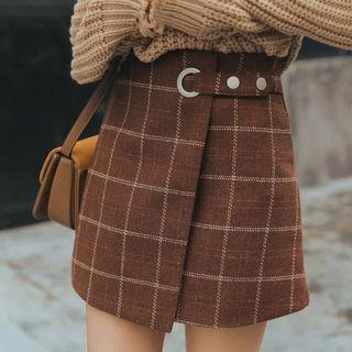Wooled plaid skirt