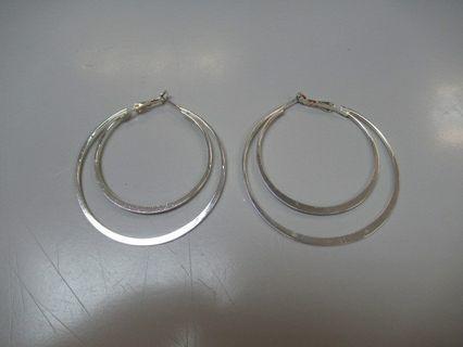 全新 兩層 銀色 金屬 耳環