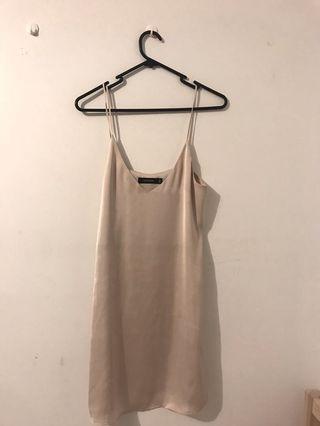 Nude Slip on silk dress