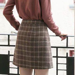 Plaid High Waist Winter Korean Style Skirt