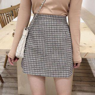 Plaid Woven Winter High Waist Mini Skirt