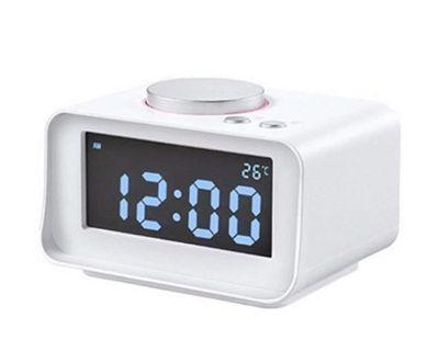 (E1246) K1 Music Alarm Clock Multi-function Mini Bedroom Clock Radio LCD Display Mute Luminous USB Charging Digital Clock (white)