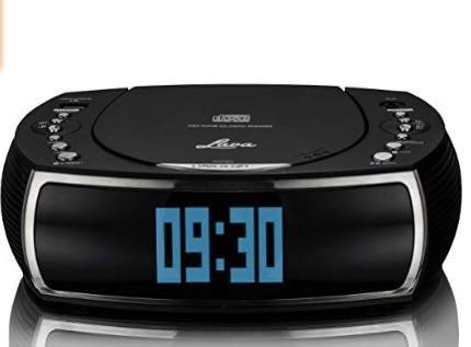 (E1249) Lava BedsideCD Alarm Clock DAB/DAB+ Digital & FM Radio with CD Player, Dual Alarm Functions and USB Charge Port – Black