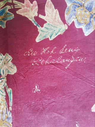 Rare! Nonya floral batik tulis sarong (sewn) with signature.