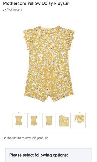 Mothercare Yellow Daisy Playsuit