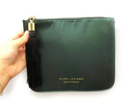 MARK JACOBS Decadence Green Satin Evening Pouch Bag With Black Tassel