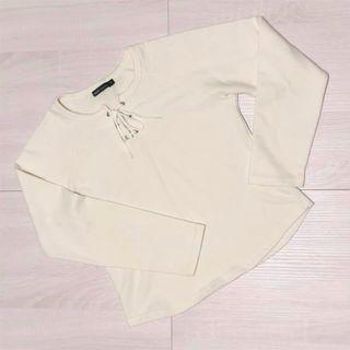 女裝圓領長袖上衣棉T米白綁帶設計韓系