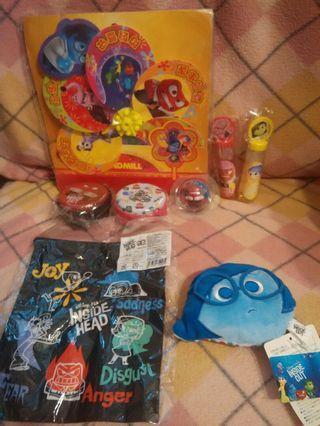 絕絶版Disney Pixar 反轉腦朋友inside out 阿愁阿樂散紙銀包索繩袋等物品