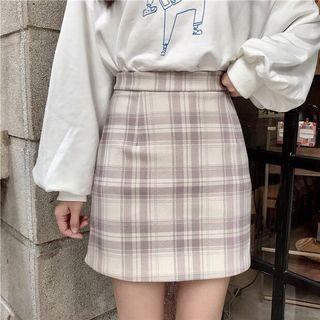 Plaid High Waist Woolen Korean Skirt