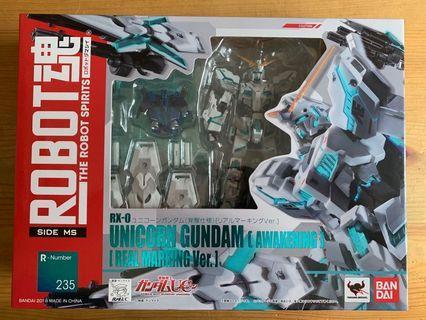 100%正版BANDAI Robot魂Unicorn gundam [awakening][real marking ver.]