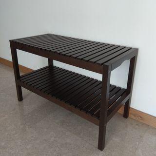 Black brown solid wood bench / shoe rack