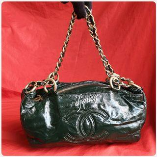 🛑Chanel Rock & Chain Dark Green Patent Bowler Bag