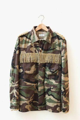 🚚 Saint Laurent Paris 15SS Fringed Camouflage-Print Jacket