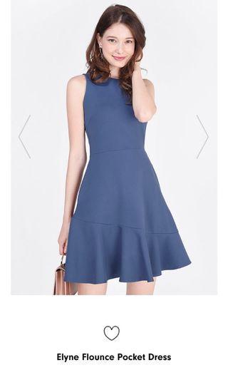 Fayth Elyne Flounce Pocket Dress (Ash Blue)