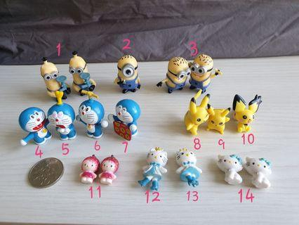 Terrarium figurines, toys, collection minion deraemon pikachu hello kitty