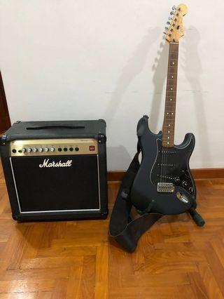 Fender Stratocaster electric guitar & Marshall amplifier