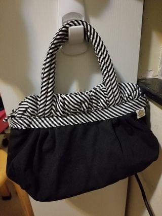 naraya 黑色手挽袋 cotton black handbag