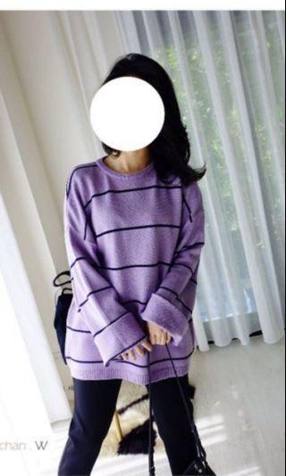韓  慵懶大大件~五分厚度條文針。紫色