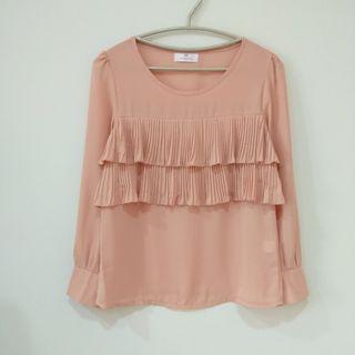 🚚 粉橘色風琴褶雪紡長袖襯衫