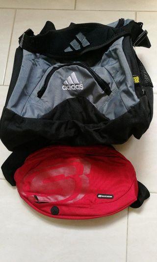Adidas freshpak (40cm wide) + Skechers light sports bag