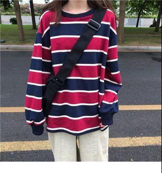 Loose Stripe Long Sleeved Shirt