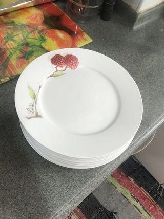 White ceramic plates floral fruit acorn design #EndgameYourExcess