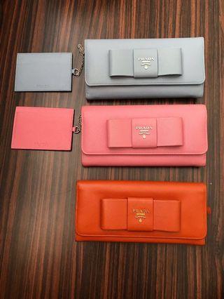 Authentic Prada long Wallet orange color