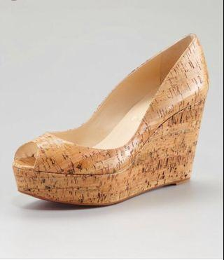 Christian Louboutin cork wedges shoes