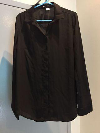 H&M black seethru blouse