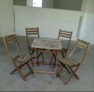 Wood Wooden IKEA Askholmen Outdoor Foldable Table Chairs