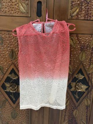Lace pink sheer through top