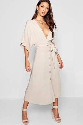 Boohoo woven midi button down sleeve beige dress