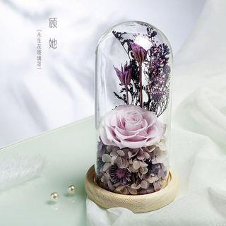 INSTOCK PURPLE ROSE IN GLASS DOME