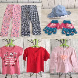Paket 9 pieces baju anak perempuan: 3 tops + 3 leggings + 1 topi + 1 sarung tangan + 1 piyama