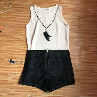 tops with leather short