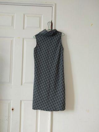 復古高領無袖洋裝