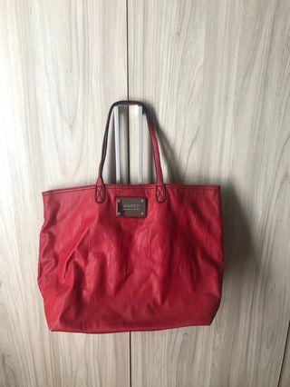 MANGO leather red tote bag