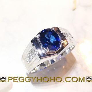 【Peggyhoho】全新18K白金((單粒1卡88份藍寶石)) 配24份小鑽男裝戒指|超值藍寶男裝戒指|HK16.5 號