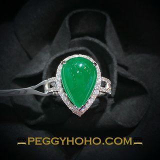 【Peggyhoho】全新18K白金4卡70份天然綠寶石配34份真鑽石戒指|巨形蛋面綠寶 附IGI證書| HK12號