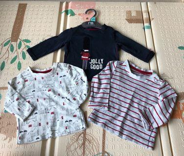 🚚 Mothercare Baby Boy Long Sleeve Shirt / Tee- 1 to 3 months