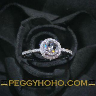 【Peggyhoho】全新18K白金27份鑽石 配小鑽 共40份戒指 |罕有ROSE CUT鑽石 |HK12號
