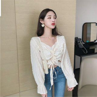 Asela White Bell Sleeve Top