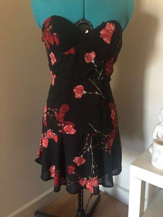 Raised By Wild Black and Red Mini Dress with Arm Detail - Size S