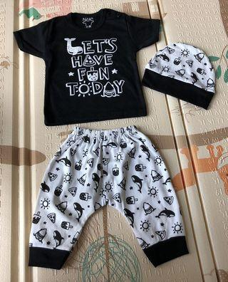 🚚 Baby Boy Tee & Pants - Black and White - 9-12 months