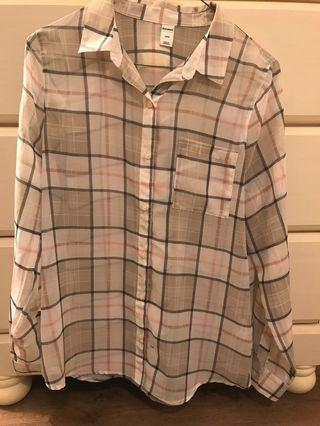 Plaid Sheer Shirt Small