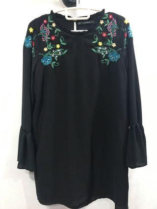 Zara Black Dress with floral embroidery