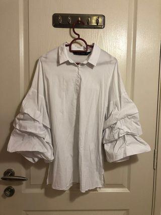 Zara White Long Tier Sleeve